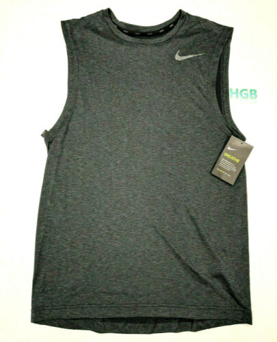 Nike Breathe Sleeveless Tank Top Mens Grey Training Running Dri-Fit 847802-060