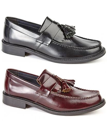 Mens Leather Loafer Shoes Black Oxblood Moccasin Deck Loafer Shoes UK 6-12