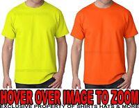 Hanes Tagless MENS T-Shirt Safety Green Yellow Orange S M L XL 2X 3X, 4X, 5X, 6X