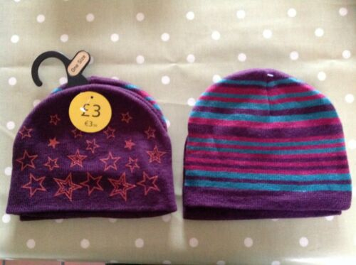 Purple Stars 2 Types Purple Stripes 2 Girls Close Knit Winter Beanie Hat