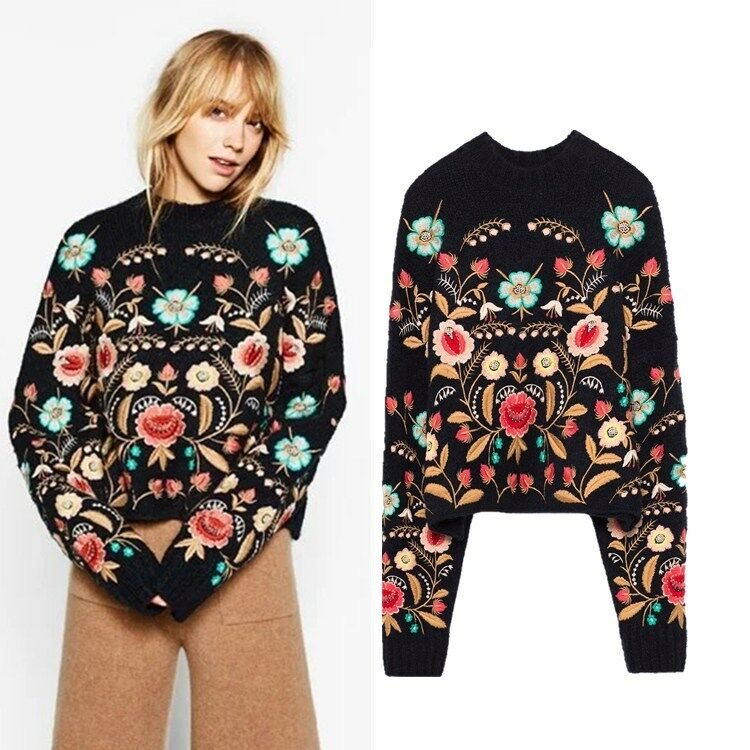 2017 Women desinger flower Embroidered Softly Wool Blend Jumper Sweater