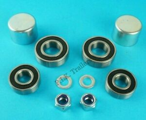 1-Axle-Wheel-Bearing-Kit-with-Dust-Caps-Washers-amp-Nuts-Erde-Trailer-101-102-125