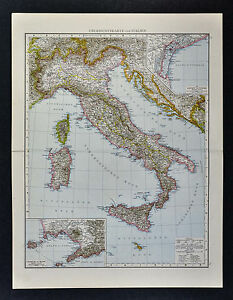 1887 Andrees Map - Italy - Rome Naples Venice Florence Milan Sicily Mt. Vesuvius