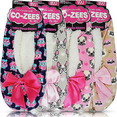 New Womens Grip Fleece Lined Winter Warm Comfort Indoor Slippers Socks Size Bed
