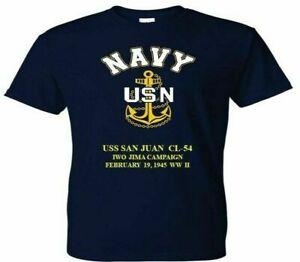 USS SAN JUAN  CL-54 VINYL  NAVY ANCHOR. IWO JIMA WW II T-SHIRT/SWEATSHIRT
