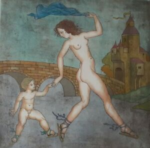 Rare-Yuri-Kokoyanin-Etching-W-Watercolor-034-Venus-and-Cupid-034-Custom-Git-Frame