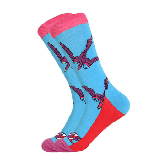 Mens Cotton Socks Funny Beer Chips Casual Dressing Color Crew Socks Wedding Gift