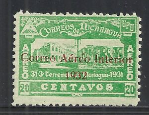 Nicaragua stamps 1932 Airmail 20c GREEN overprinted COLOUR ERROR UNG VF