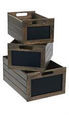 Large Wood Milk Crate Storage Bin With Chalkboard Threshold eBay