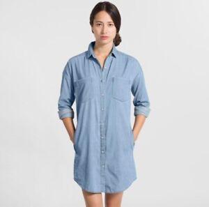 NWOT-Everlane-Long-Sleeve-Denim-Shirt-Dress-Light-Blue-Medium