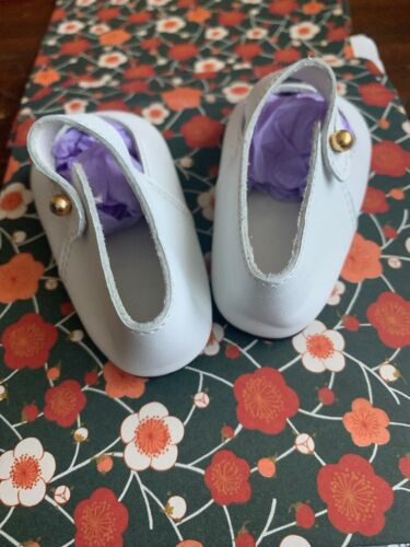 """NEW Old Stock 100/% LEATHER Doll Shoes 100mm Almost 4"""" White New German Round Toe"""