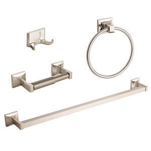 4 Pcs Brushed Nickel Bathroom Hardware Accessory Set Towel Bar Hook Ring Holder