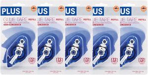 "5 of PLUS Glue Tape Adhesive Permanent Refill Cartridge 1/3"" x 72' TG-611BC"