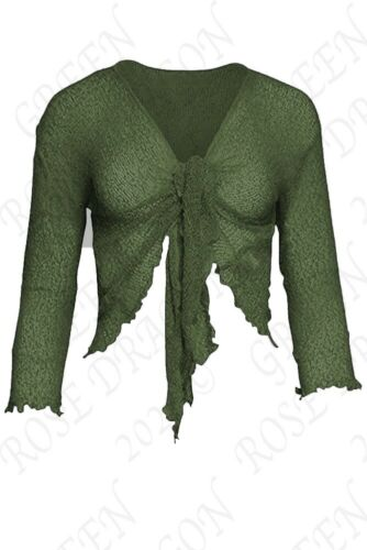 WOMENS TIE UP SHRUG OPEN FRONT KNITTED LACE CROPPED BOLERO SHORT CARDIGAN TOP UK