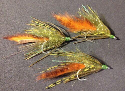 Per 6 Smallie//Largemouth Crawlers New Wave Olive UV//Orange NEW***** 1//0 Size