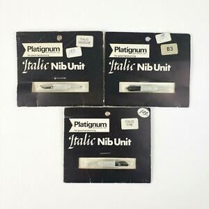 Lot-of-3-Vintage-Platignum-Italic-Nib-Unit-Italic-Medium-B3-Italic-Fine