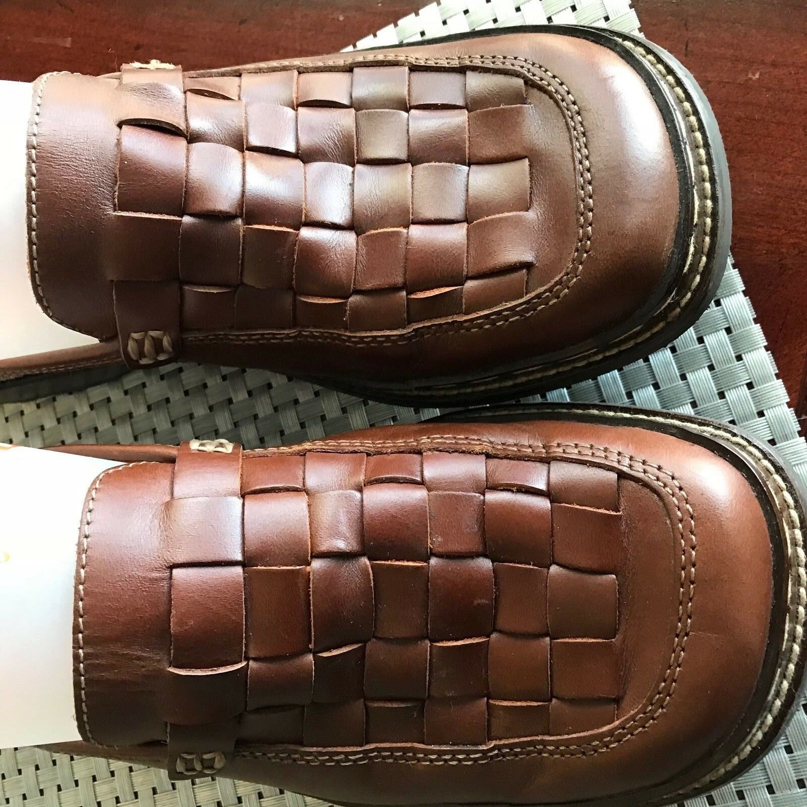 Frye Corsica Brown Woven Leather Clog   Mule Women shoes