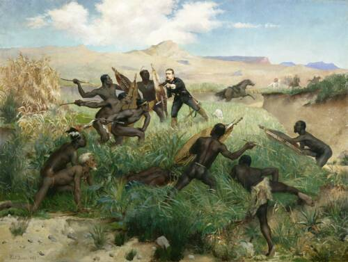 Zulu Warriors Death of the Prince Imperial 1882 Repro Art Print 7x5 inches