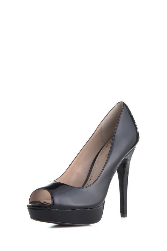 Pour La Victoire Angelie pump BLACK peep toe platform patent Leder high heels