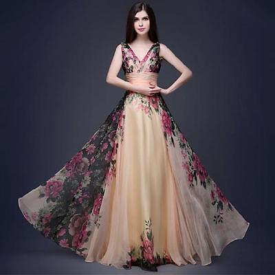 Women Long Chiffon Floral Dress Formal Evening Party Cocktail Prom Gown Sundress