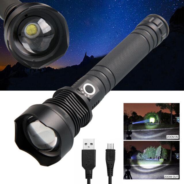 500000 Lumens XHP70 Most Powerful LED Flashlight USB Zoom Tactical Torch DE