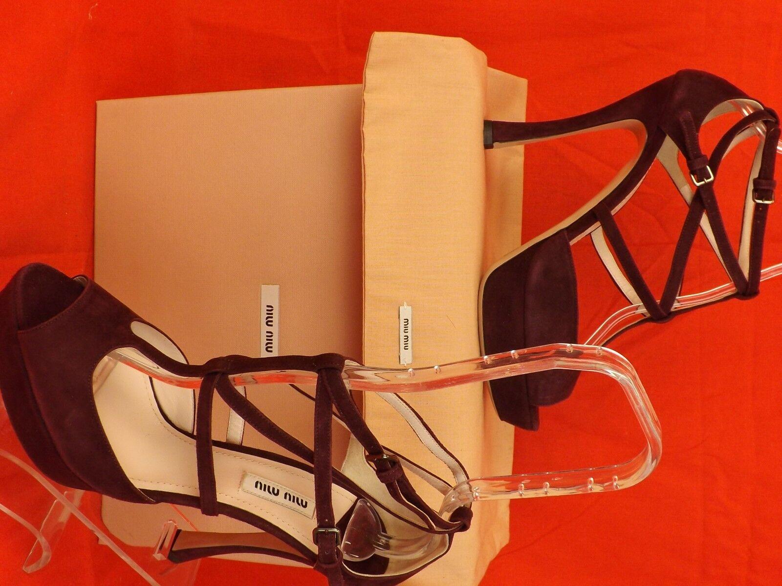NIB MIU MIU PRADA BURGUNDY SUEDE CAGED ANKLE 35.5 STRAP PLATFORM HEEL SANDALS 35.5 ANKLE 7e424a