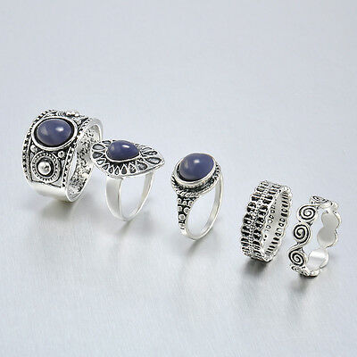 5PCS Punk Vintage Women Knuckle Rings Tribal Ethnic Hippie Stone Joint Ring Set