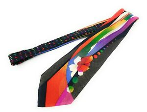VITALIANO-PANCALDI-Tie-Orange-Red-Blue-Yellow-Black-Floral-Geometric-Necktie