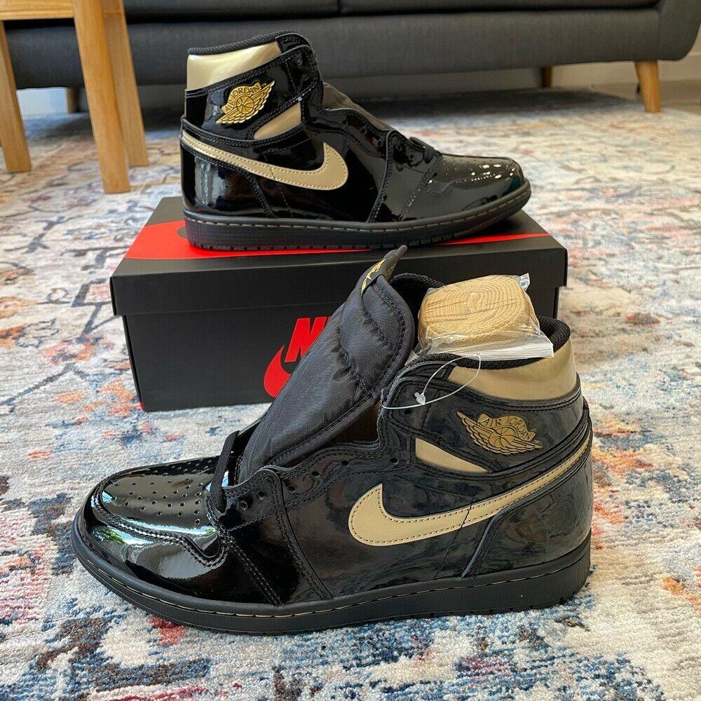 Jordan 1 Retro High OG Patent Black Gold - UK 8