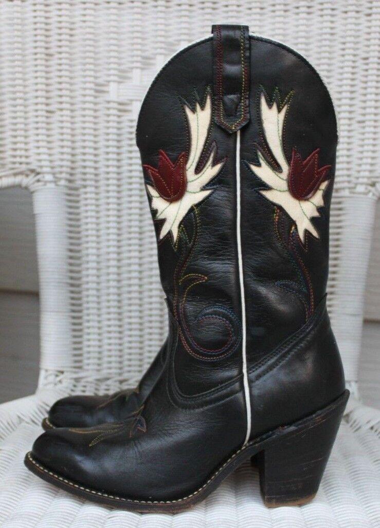 Vintage Capezio Designer Black Western Boots, Womens 6.5M Embroidery Tulip Inlay