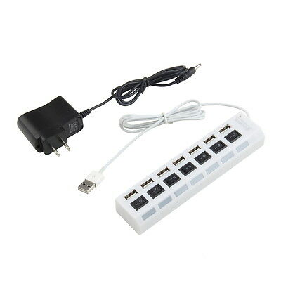 7 Port USB 2.0 Power Hub High Speed Adapter ON/OFF Switch For PC Laptop MAC F5