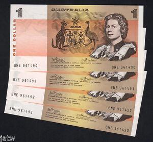 R-75-1974-One-Dollar-Phillips-Wheeler-AUSTRALIA-Consecutive-Run-of-4-UNC