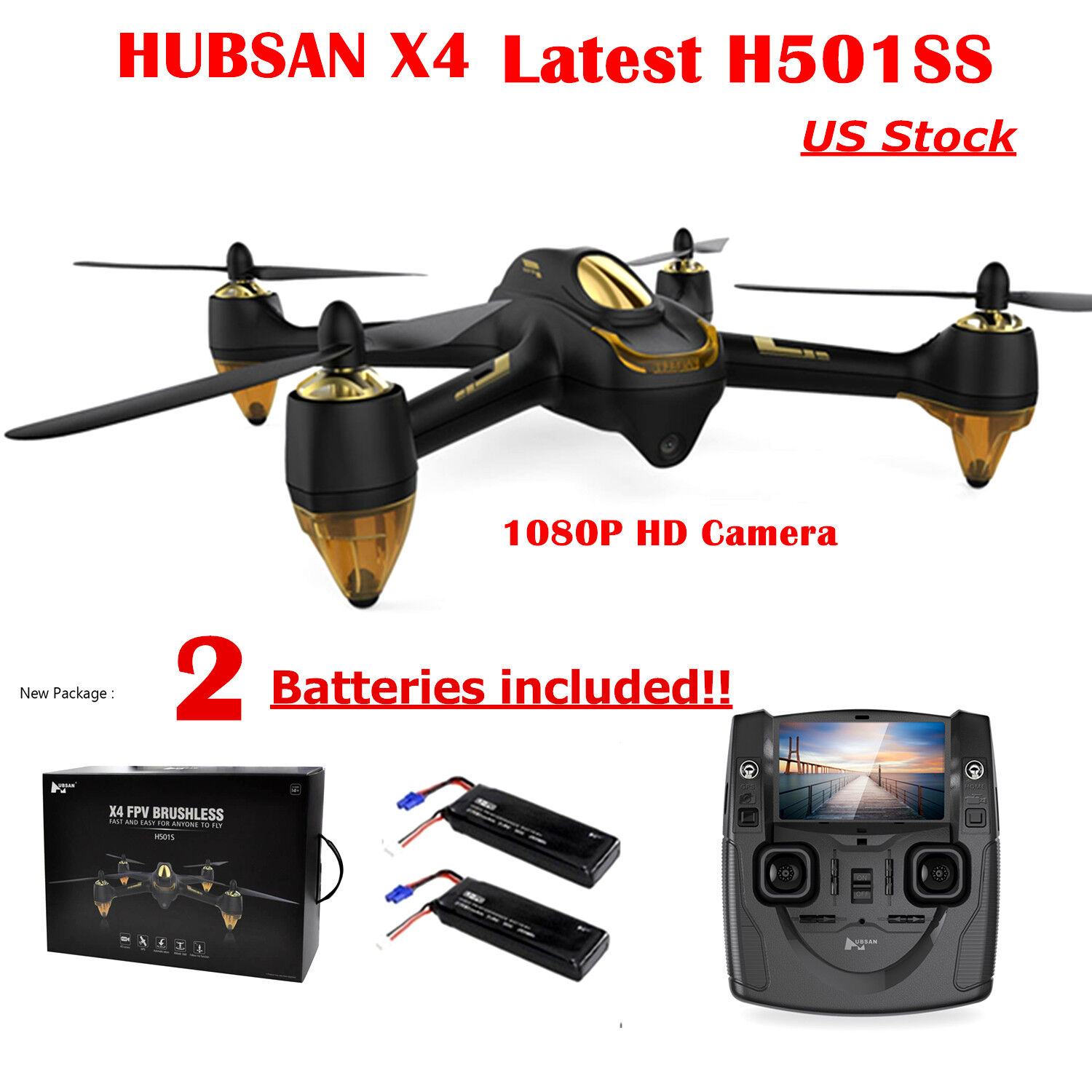 Hubsan H501S X4 Drone FPV GPS RC Quadcopter Brushless 1080P HD Camera RTH US,RTF