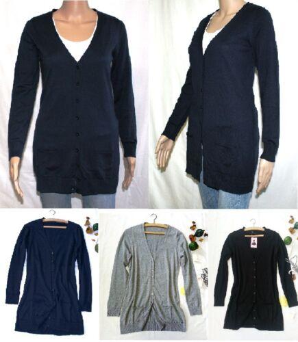 Donna Giacca Cardigan Maglia Giacca Pullover Maglione Lungo TG 34-44 NUOVO