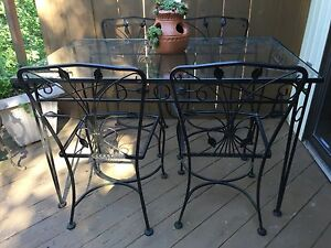 Vintage Salterini Wrought Iron Patio Table and Four Chairs ...