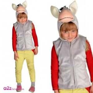BOYS GIRLS KIDS CHILDS DONKEY TABARD FANCY DRESS BOOK DAY FARM ANIMAL 3//8 YRS