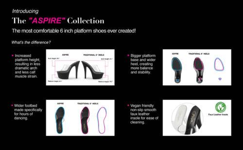 "PLEASER 6/"" Heel Comfortable Hot Pink Chrome Platform Stripper Ankle Strap Shoes"