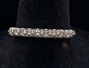 Antique-Retro-18K-White-Gold-Diamond-Wedding-Band-Ring-Size-8