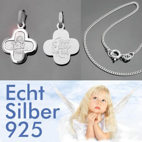 Kinder Baby Kreuz Anhänger mit Engel Gott schütze Dich mit Kette Echt Silber 925