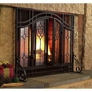 fireplace screen doors black mesh glass home garden improvements heating cooling ebay. Black Bedroom Furniture Sets. Home Design Ideas