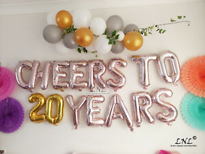 Image Is Loading Rose Gold Balloons Cheers To 20 Years Birthday