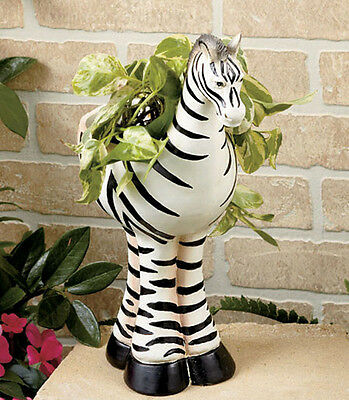 Zebra Safari Animal Planter Whimsical Garden Patio Flower Pot Nursery Decor