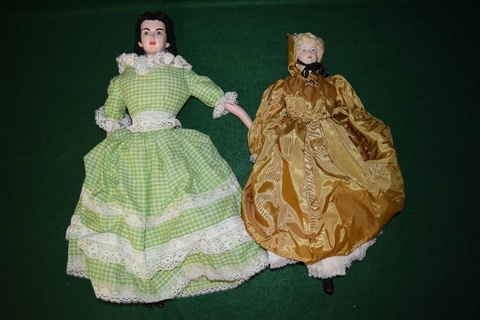 Vintage Pair of Porcelain Head, Arms and Legs Dolls