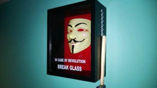 In Case Of Revolution Break Glass V for Vendetta Anon Anonymous Shadow Box
