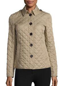 Details About Burberry Brit Women S Ashurst Diamond Quilted Jacket Beige Canvas Size L