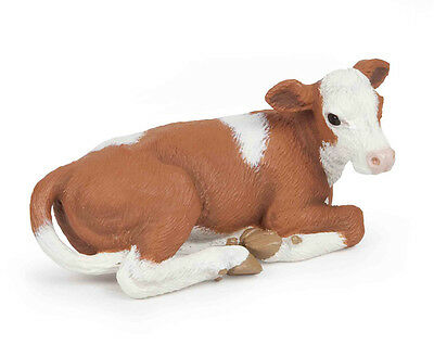 Papo 51143 Simmental Calf Lying Farm Animal Figurine Model Toy Play Cow - NIP