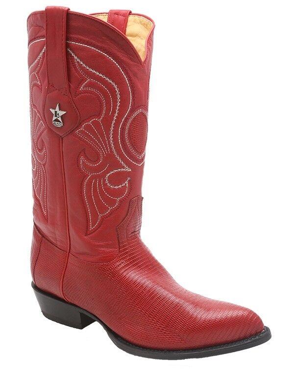 Los Altos Mens Genuine Ring Lizard Authentic Teju rot Western J Toe Dress Stiefel