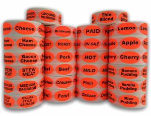 500 Oval Labels .875x1.25 Br//Red BACON Food Packaging Retail Stickers