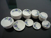 30 Mix  Scalloped Plates Orchid  Dollhouse Miniatures Ceramic Supply Food