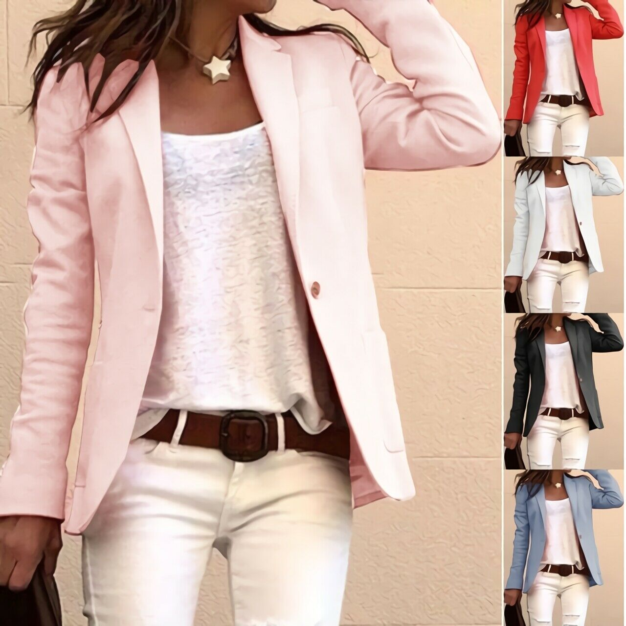 Women's Casual Candy-colored Long-sleeved Suit Commuter Slim Slimming Coat